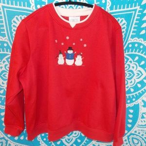 Vintage 90s Ugly Christmas Sweater Red Snowman 3X